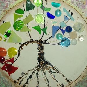 Az élet fája - tél: üvegmozaik festmény , Dekoráció, Otthon & lakás, Lakberendezés, Képzőművészet, Festmény, Festészet, Mozaik, Egyedi mandala stílusú akrilfestmény: Az élet fája- tél.\nAlapozást követően akrilfestékkel készült a..., Meska