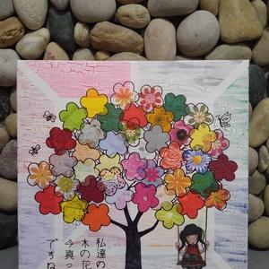 A varázsfa: egyedi festmény Santoro-Gorjuss stílusban, Képzőművészet, Otthon & lakás, Festmény, Akril, Festmény vegyes technika, Decoupage, transzfer és szalvétatechnika, Festészet, Egyedi vidám akrilfestmény bájos mintával és japán felirattal.\n\nDekupázs technikával készítettem ked..., Meska