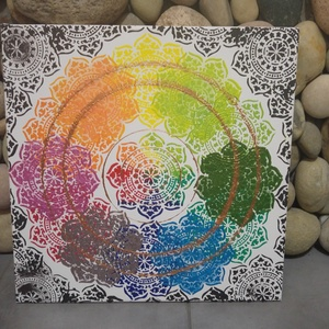 Szivárvány: akril mandala festmény , Otthon & Lakás, Lakberendezés, Egyedi stílusú, nagy méretű mandala festmény. Világos alapon több színben készültek a mandalák. Az a..., Meska
