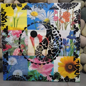 Virágzó kapcsolat: akril yin-yang mandala festmény  (jin-jang), Képzőművészet, Otthon & lakás, Festmény, Akril, Festmény vegyes technika, Festészet, Egyedi stílusú, nagy méretű mandala festmény.\nAz alap a pergö deszkákon elhelyezett virágok.\nErre ke..., Meska