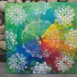 Mandala a la Vasarely: akril festmény , Képzőművészet, Otthon & lakás, Festmény, Akril, Festmény vegyes technika, Festészet, Mindenmás, Egyedi stílusú, nagy méretű mandala festmény.\nAz alap a antikolt stílusban elhelyezett szivárvány.\nE..., Meska