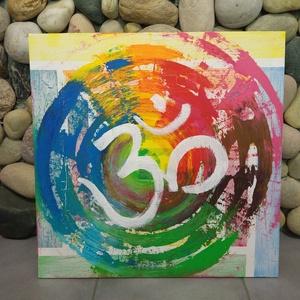 Óm-Aum mandala: modern akril festmény /yoga/meditáció, Képzőművészet, Otthon & lakás, Festmény, Akril, Festmény vegyes technika, Festészet, Mindenmás, Egyedi stílusú, nagy méretű mandala festmény.\nAz alap antikolt stílusban elhelyezett szivárvány perg..., Meska