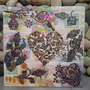 Várom a párom: falikép szerelmes madarakkal, Grafika & Illusztráció, Művészet, Festészet, Decoupage, transzfer és szalvétatechnika, Egyedi stílusú, nagy méretű mandala festmény.\nAz alap a pergö deszkákon elhelyezett madarak és szíve..., Meska