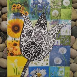 """Virágmindenség: nagy méretű falikép , Grafika & Illusztráció, Művészet, Decoupage, transzfer és szalvétatechnika, Mindenmás, Egyedi stílusú festmény nagy méretben.\nA háttér patchwork stílusban készült \""""keresztöltésekkel\"""" össz..., Meska"""