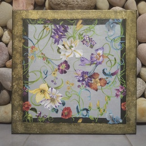 Virágok a kertben festmény (ajándék/nászajándék), Otthon & Lakás, Dekoráció, Kép & Falikép, Egyedi stílusú kép 40x40cm méretben feszített vásznon. Kacskaringós virágok, indák. Stilizált klassz..., Meska