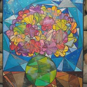 Csendélet: modern akril festmény , Képzőművészet, Otthon & lakás, Festmény, Festmény vegyes technika, Lakberendezés, Festészet, Mindenmás, Egyedi stílusú modern akril festmény 30x40cm méretben feszített vásznon.\nÉlénk színek kubista stílus..., Meska
