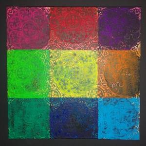 Mandalák mandalája: modern akril falikép/mandala festmény, Művészet, Festmény, Festmény vegyes technika, Egyedi stílusú modern akril festmény 55x55cm méretben feszített vásznon. Élénk színek, dibamikus for..., Meska