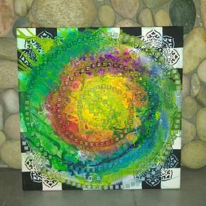 Színkavalkád: modern akril falikép/mandala festmény mozaikokkal, Művészet, Festmény, Festmény vegyes technika, Egyedi stílusú modern akril festmény mixedmedia technikával készítve 40x40cm méretben feszített vász..., Meska