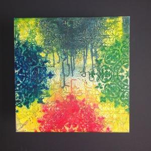 Ódon mandala: modern akril falikép/mandala festmény, Otthon & Lakás, Dekoráció, Kép & Falikép, Egyedi stílusú modern akril festmény 40x40cm méretben feszített vásznon. Keretezést nem igényel. Élé..., Meska
