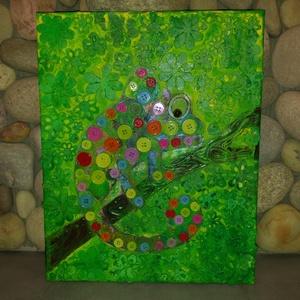 Kaméleon: modern akril falikép/3D festmény, Akril, Festmény, Művészet, Festészet, Mindenmás, Egyedi stílusú modern akril festmény 40x35cm méretben feszített vásznon. Keretezést nem igényel.\nÉlé..., Meska