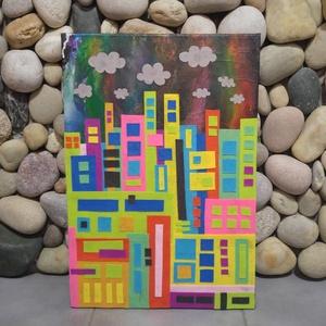 Felhőket karcoló: modern színes falikép/3D , Pasztell, Festmény, Művészet, Mindenmás, Mozaik, Gyönyörű színekben tündököl ez a nagyváros. Épületei szinte a felhőket karcolják. Egyszer talán meg ..., Meska