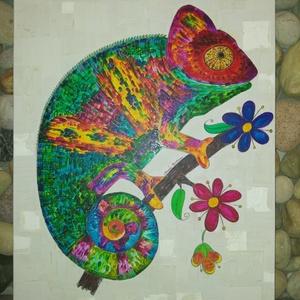 Kaméleon virágokkal: nagyméretű akril festmény /falikép , Akril, Festmény, Művészet, Festészet, Mindenmás, Egyedi stílusú akril kép mixed media technikával készítve, szignózva.\n\nMéret: 80x60cm\nFeszített vász..., Meska