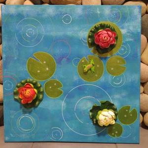 Eső- 3D falikép tavirózsákkal, Otthon & Lakás, Dekoráció, Kép & Falikép, Egyedi stílusú, nagy méretű kép.  Méret: 50x50cm Feszített vásznon. Keretezést nem igényel. A festmé..., Meska