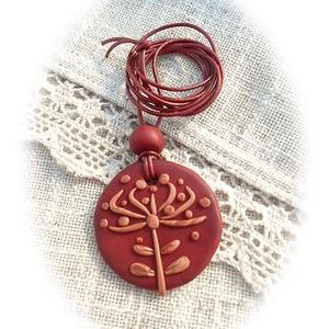 Pitypang, de nem pongyolához : ), Ékszer, Nyaklánc, Medál, Gyurma, Ékszerkészítés, Ékszergyurmából készítettem a bronzos alapot, melyre vörösréz színű pitypangos díszítést mintáztam. ..., Meska