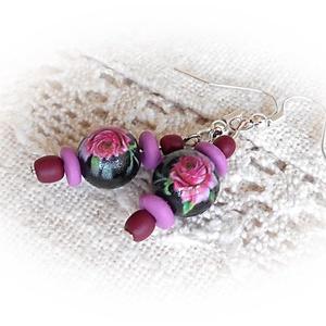 Romantikus rózsás fülbevaló, Ékszer, Fülbevaló, Lógó fülbevaló, Ékszerkészítés, Gyurma, Meska