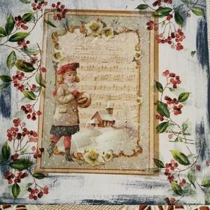 karácsonyi ,ünnepi dekoráció,nosztalgia falikép., Otthon & lakás, Dekoráció, Kép, Ünnepi dekoráció, Lakberendezés, Falikép, Decoupage, transzfer és szalvétatechnika, Festett tárgyak, Kézzel festett,dekupázs és vegyes technikával díszített, karácsonyi , nosztalgia falikép.Anyaga:fa. ..., Meska