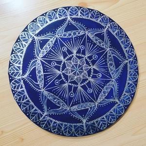 Víz  mandala, Otthon & lakás, Dekoráció, Kép, Képzőművészet, Festmény, Akril, Festett tárgyak, Festészet, 30cm átmérőjű kör alakú vászonra, akril festékkel festett egyedi mandala, Meska