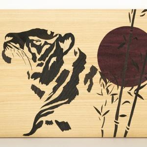 Japán stílusú tigris fa intarzia falikép, Dekoráció, Otthon & lakás, Kép, Képzőművészet, Vegyes technika, Famegmunkálás, A képen látható intarzia már elkelt.\nRendelés esetén a kép méretén, színén és formáján is lehet vált..., Meska