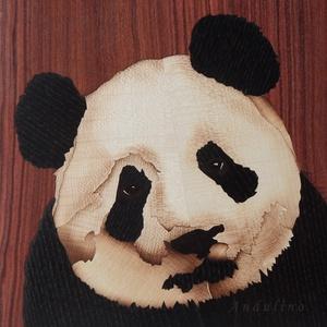 Édes Panda maci fa kézműves intarzia kép, Lakberendezés, Otthon & lakás, Falikép, Famegmunkálás, Panda maci gazdára vár! Legyen a Te otthonod dísze. \nNézz körül a saját készítésű intarziáim között ..., Meska