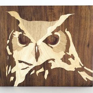 Bagoly portré fa intarzia , Portré, Portré & Karikatúra, Művészet, Famegmunkálás, Mindenmás, Kézzel készült faintarzia! Ez a képem még egy verses kötet könyvborítójaként is megjelent :)\n\nA képe..., Meska