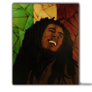 Bob Marley énekes fa portré, Portré, Portré & Karikatúra, Művészet, Famegmunkálás, Mindenmás, Saját kézzel, fából készült Bob Marley portré. Minden intarziát saját magam készítek egy kis kés és ..., Meska
