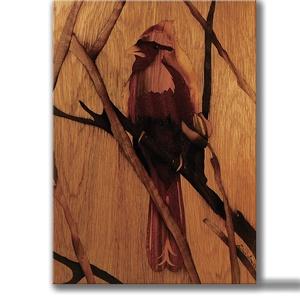 Kardinális pinty madár fa intarzia, Dekoráció, Otthon & lakás, Képzőművészet, Lakberendezés, Famegmunkálás, Hangulatos pinty portré. Egyedi megrendelést vállalok, bármilyen állatról legyen szó.\n\nAz intarzia m..., Meska
