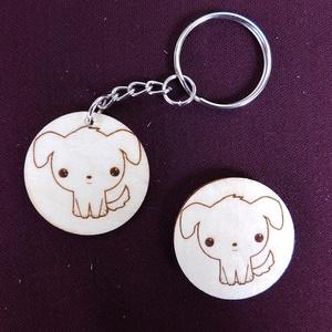 Aranyos kutya kulcstartó/mágnes, Egyéb, Kulcstartó, táskadísz, Táska, Divat & Szépség, Fotó, grafika, rajz, illusztráció, Gravírozás, pirográfia, Kézzel rajzolt mosolygós kis kutyus.\nKulcstartó és hűtőmágnes formájában. \nNem Ő a kedvenc állatkád?..., Meska