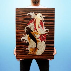 Koi halak fából festmény intarzia, Más művészeti ág, Művészet, Famegmunkálás, Egyedi díszítést keres otthonába? Vagy meglepné egy barátját, családtagját egy igazán egyedi ajándék..., Meska