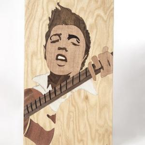 Elvis Presley énekes fa portré, Portré, Portré & Karikatúra, Művészet, Famegmunkálás, Mindenmás, Saját kézzel, fából készült Elvis Presley portré. Minden intarziát saját magam készítek egy kis kés ..., Meska