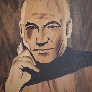 Jean-Luc Picard (Patrick Stewart) intarzia fa portré, Portré, Portré & Karikatúra, Művészet, Famegmunkálás, Mindenmás, Saját kézzel, fából készült Jean-Luc Picard portré a Star Trek sci-fi sorozatból. Minden intarziát s..., Meska