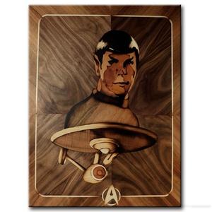 Mr. Spock (Leonard Nimoy) intarzia fa portré, Portré, Portré & Karikatúra, Művészet, Famegmunkálás, Mindenmás, Saját kézzel, fából készült Mr. Spock portré a Star Trek sci-fi sorozatból. Minden intarziát saját m..., Meska