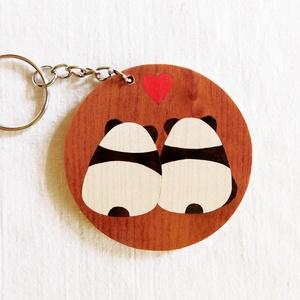 Panda pár fa kulcstartó (Intarzia), Egyéb, Táska, Divat & Szépség, Kulcstartó, táskadísz, Famegmunkálás, Minden termékemet 100%-ig kézzel ill. egy szikével készítek és fából. \nEz valóban egy különleges ajá..., Meska
