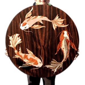 Különleges Koi halak fából festmény intarzia, Otthon & lakás, Dekoráció, Képzőművészet, Famegmunkálás, Egyedi díszítést keres otthonába? Vagy meglepné egy barátját, családtagját egy igazán egyedi ajándék..., Meska