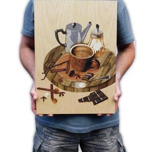 Kávé intarzia csendélet, Otthon & lakás, Dekoráció, Kép, Famegmunkálás, Mérete 45x32 cm\nHasznált faanyagok: kőris, cseresznye, oliva, eukaliptusz, fekete limbo, indiai alma..., Meska