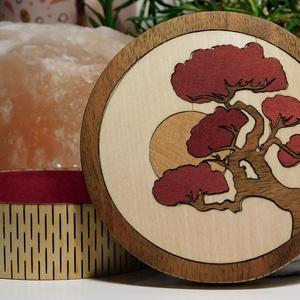 bonsai cseresznyefa díszdoboz, Ékszer, Ékszertartó, Ékszerdoboz, Famegmunkálás, Fából készült kis intarziás doboz. Alkalmas ékszerek, órák, cukorkák stb... tárolására vagy akár csa..., Meska