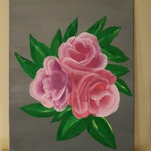 Akril rózsa kép, absztrakt, Anyák napja, Ünnepi dekoráció, Dekoráció, Otthon & lakás, Képzőművészet, Festészet, A képen látható absztrakt rózsa egy 18 x 24 cm méretű festőkartonra készült, akril festékkel. Igény ..., Meska