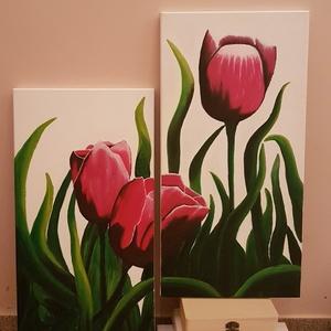 Tulipánok, Otthon & lakás, Dekoráció, Képzőművészet, Festmény, Akril, Lakberendezés, Falikép, Festészet, 3 tulipán, 2 feszített vászon. Több részes kép, amely tulipánokat ábrázol, fehér háttérrel (de igény..., Meska