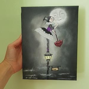 Csók a Holdnak, Otthon & lakás, Dekoráció, Kép, Képzőművészet, Festmény, Akril, Lakberendezés, Falikép, Festészet, Csók a Holdnak. Egy kis kedvesség, egy kis puszi, egy kis mosoly. Ennyi kell csak, hogy egy kicsivel..., Meska