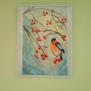 Havas madár, Karácsony, Karácsonyi dekoráció, Otthon & lakás, Dekoráció, Kép, Lakberendezés, Falikép, Festészet, Havas madár. Vízfestékkel készült, papírra. Kellemes kis havas, télies kép, amely egy kicsi telet és..., Meska