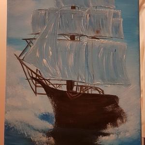 Hajó a tengeren, Otthon & lakás, Dekoráció, Kép, Képzőművészet, Festmény, Akril, Lakberendezés, Falikép, Festészet, Hajó a tengeren. Mintha a ködből tűnne elő. Mérete kb 25 x 58 cm. Igény esetén más méretben is kérhe..., Meska