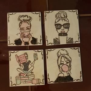 """Poháralátét, girl boss, Otthon & Lakás, Konyhafelszerelés, Gravírozás, pirográfia, 3 mm vastag, nyírfából készült pohár alátétek. 4 db-os csomag, \""""girl boss\"""" mintával, amely pirografá..., Meska"""