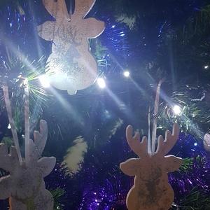 Karácsonyfa dísz, szarvas 1., Karácsony, Karácsonyi lakásdekoráció, Karácsonyfadíszek, Decoupage, transzfer és szalvétatechnika, Meska