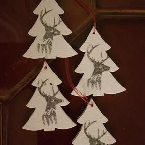 Karácsonyfadísz, fenyő 4., Karácsony, Karácsonyi lakásdekoráció, Karácsonyfadíszek, Decoupage, transzfer és szalvétatechnika, Meska