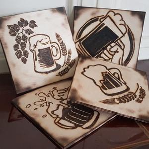 Poháralátét szett, sörös korsó 1., Otthon & Lakás, Lakberendezés, Gravírozás, pirográfia, 3 mm vastag, nyírfából készült pohár alátétek. 4 db-os csomag, sörös korsó mintákkal, amely pirograf..., Meska
