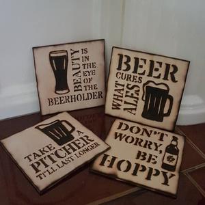 Poháralátét, sörös, Otthon & Lakás, Dekoráció, Gravírozás, pirográfia, 3 mm vastag, nyírfából készült pohár alátétek. 4 db-os csomag, hűsítő italok (sörös / üdíiős) mintáj..., Meska
