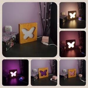 Asztali fa LED lámpa, pillangó, Otthon & Lakás, Lámpa, Asztali lámpa, Mindenmás, Pillangó motívumos, kézzel megmunkált (vágott, faragott, csiszolt, pácolt) fa lámpa, amely tökéletes..., Meska