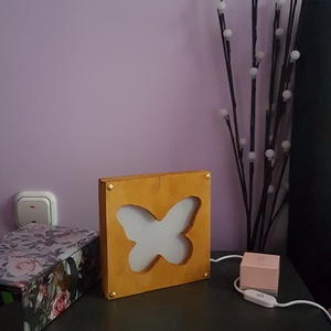Asztali fa LED lámpa, pillangó - karácsony - Meska.hu