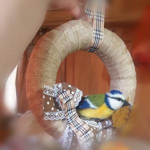 Őszi cinege ajtódísz, kopogtató, Otthon & Lakás, Ajtódísz & Kopogtató, Dekoráció, Ma reggel madarat lehetett volna fogatni velem. De mivel nem szokásom madarakat fogdosni - hisz oly ..., Meska