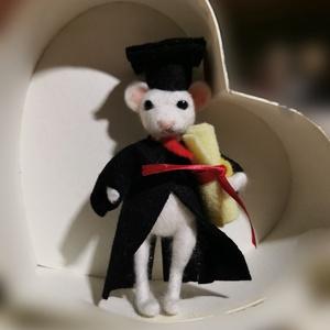Dr. Egérke, Otthon & Lakás, Dekoráció, Dísztárgy, Nemezelés, Tűnemezelt egérke figura ballagási / diplomaosztó emlék, ajándék. \nMagassága kb 16 cm.\nKarja, lába d..., Meska