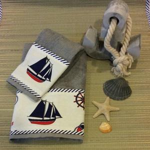 Flotír törölköző szett tengerész designban , Otthon & Lakás, Fürdőszoba, Törölköző, Szürke flotír törölköző szett tengerész stílusban a tenger hangulatát varázsolja a fürdőszobába , de..., Meska